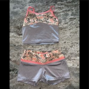 Girls dance half tank and shorts set